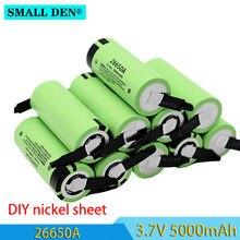 Batterie Li-ion Rechargeable, 100% V, 26650A, 3.7 mAh, 5a, haute capacité, courant élevé, feuilles de Nickel, DIY bricolage