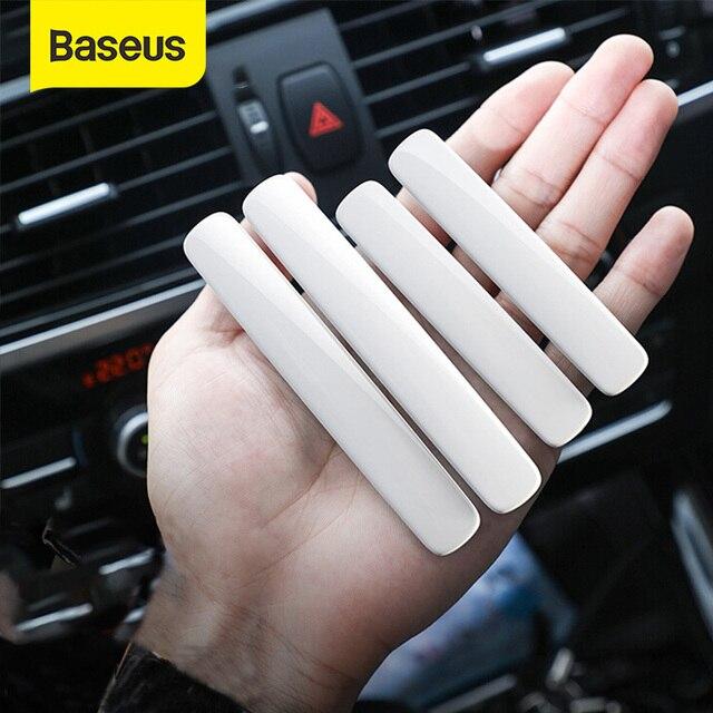 Baseus 4Pcs Car Door Edge Protector Strip Anti Collision Plating Baking Finish Rubber Bumper Molding Side Sticker Car Styling