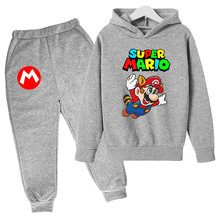 2021 new spring and autumn baby girl boy clothes suit cute Mario cotton hoodie + pants suit casual kids children's sportswear