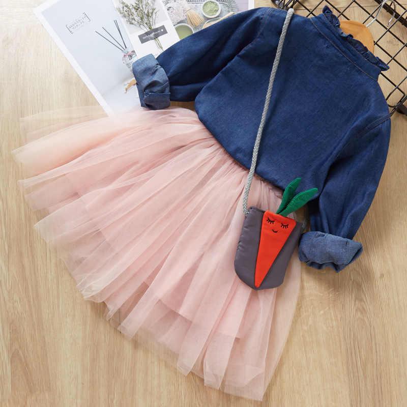Kız elbise sonbahar prenses hayvan desen tavşan elbise kızlar için giysi çocuk giyim Tutu parti tarzı kız elbise