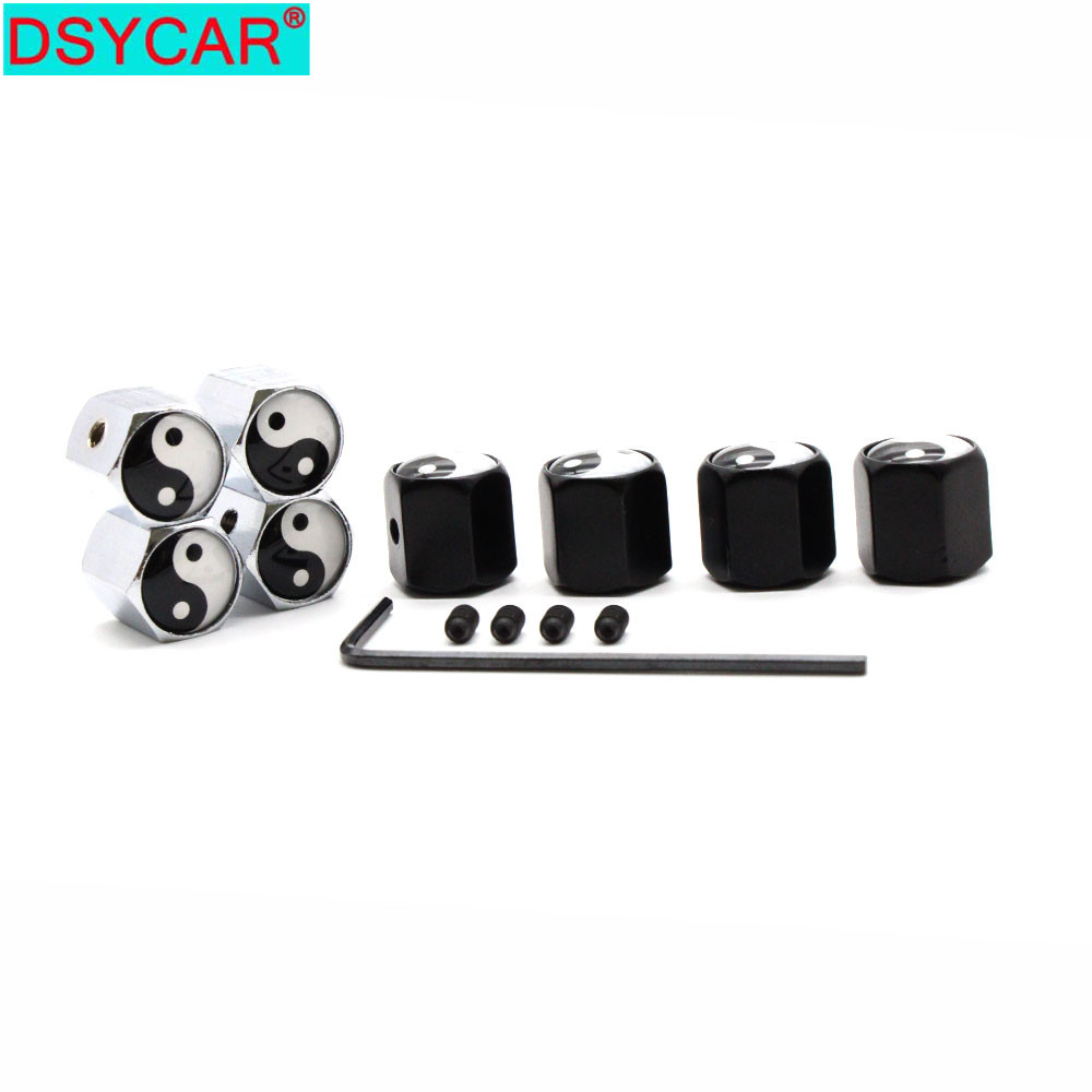 DSYCAR 1Set Car Styling Zinc Alloy Anti-theft Tai Chi Style Car Tire Valve Caps Wheel Tires Tire Stem Air Cap Airtight Covers