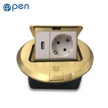 All Aluminum Golden Panel Pop Up Floor Socket 16A Russia Spain EU Standard Power Outlet With USB Charging Port 5V 1A цена в Москве и Питере
