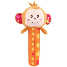 Baby Creative Cute Cartoon Animals Doll Toys Squeaky Plush Stroller Hang Bell with Sound Hand Rattles  Playing Soothing Toy
