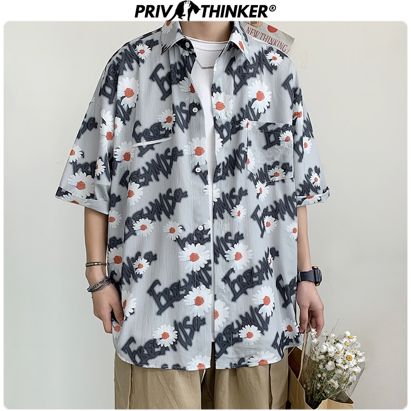 Privathinker Men Summer Daisy Printed Shirts 2020 Men Vocation Short Sleeve Streetwear Couple Clothes Male Fashions Shirts Tops