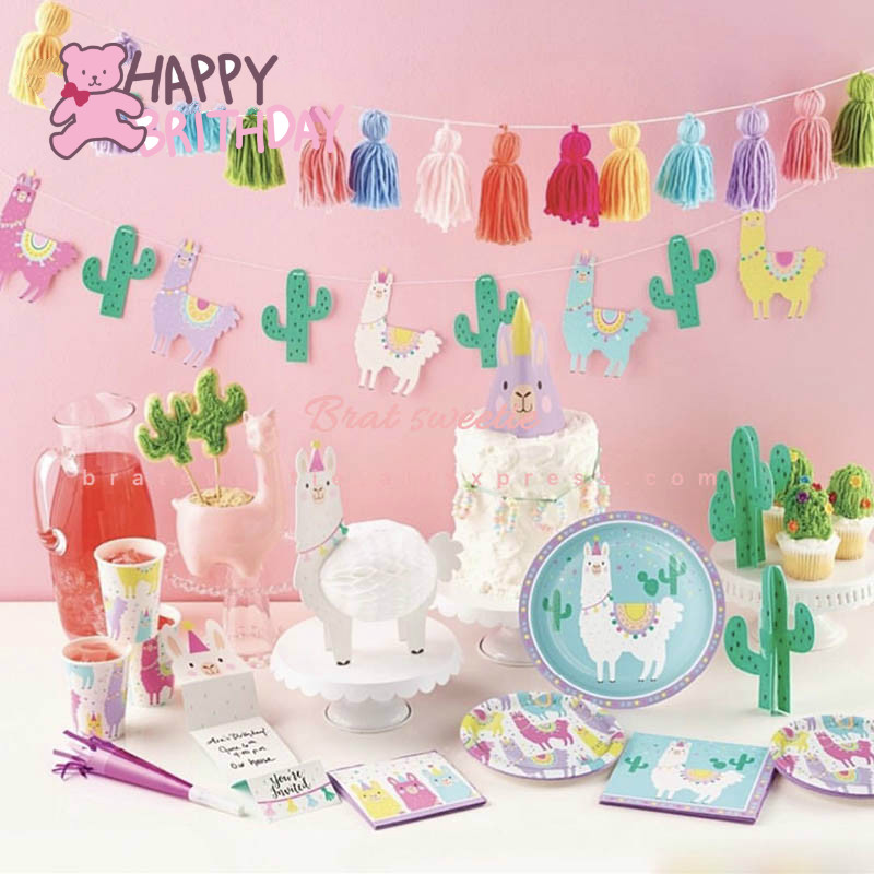 Minty Happy Llama Birthday Personalized Party Table Placemat Decoration