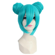 Hatsune Miku Vocaloid Cosplay perruque avec petits pains bleu cheveux courts Cosplay Costume perruques synthétiques Halloween fête Anime Pelucas(China)