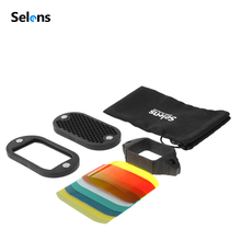 Selensフラッシュスピードライトハニカムグリッドディフューザーリフレクター磁気ゲルバンド7個フィルターフラッシュアクセサリーキット