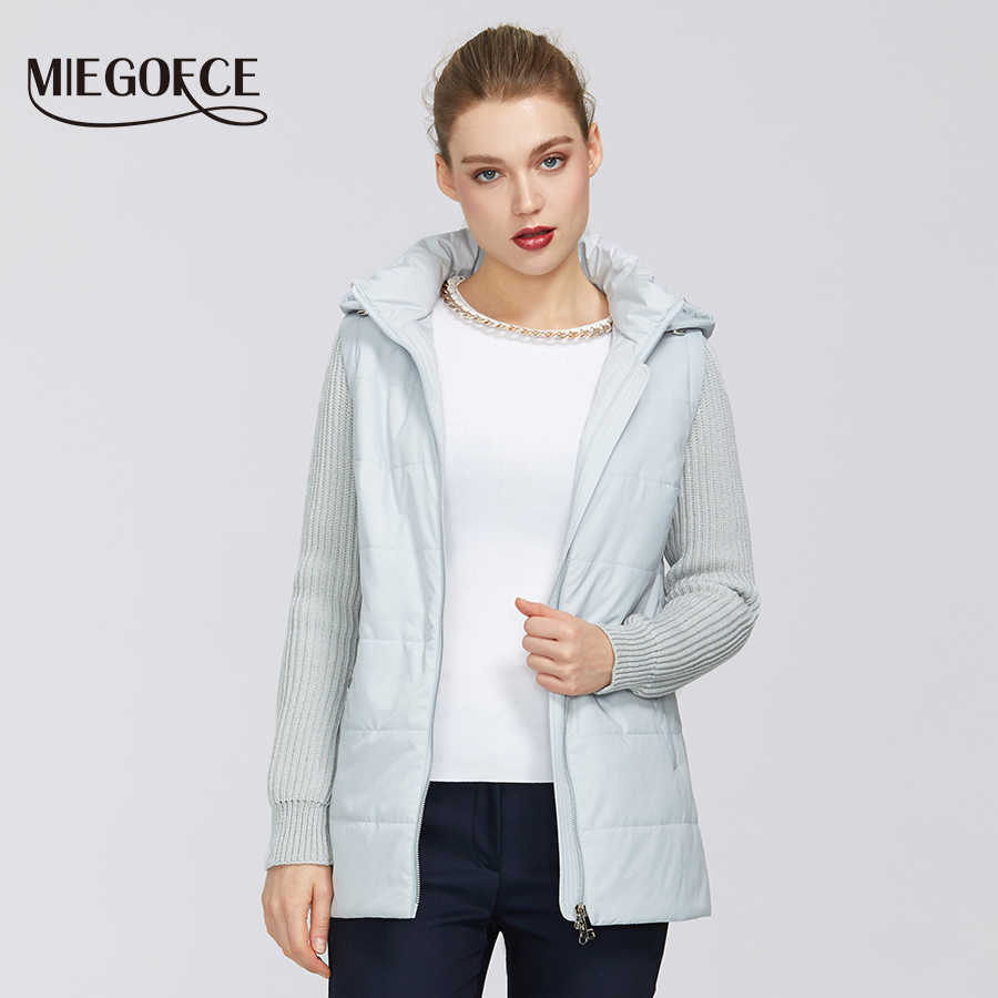 MIEGOFCE 2020 New Spring Women Collection 자켓 방풍 더블 소재 지퍼 자켓 Shortthwith Resistant Collar