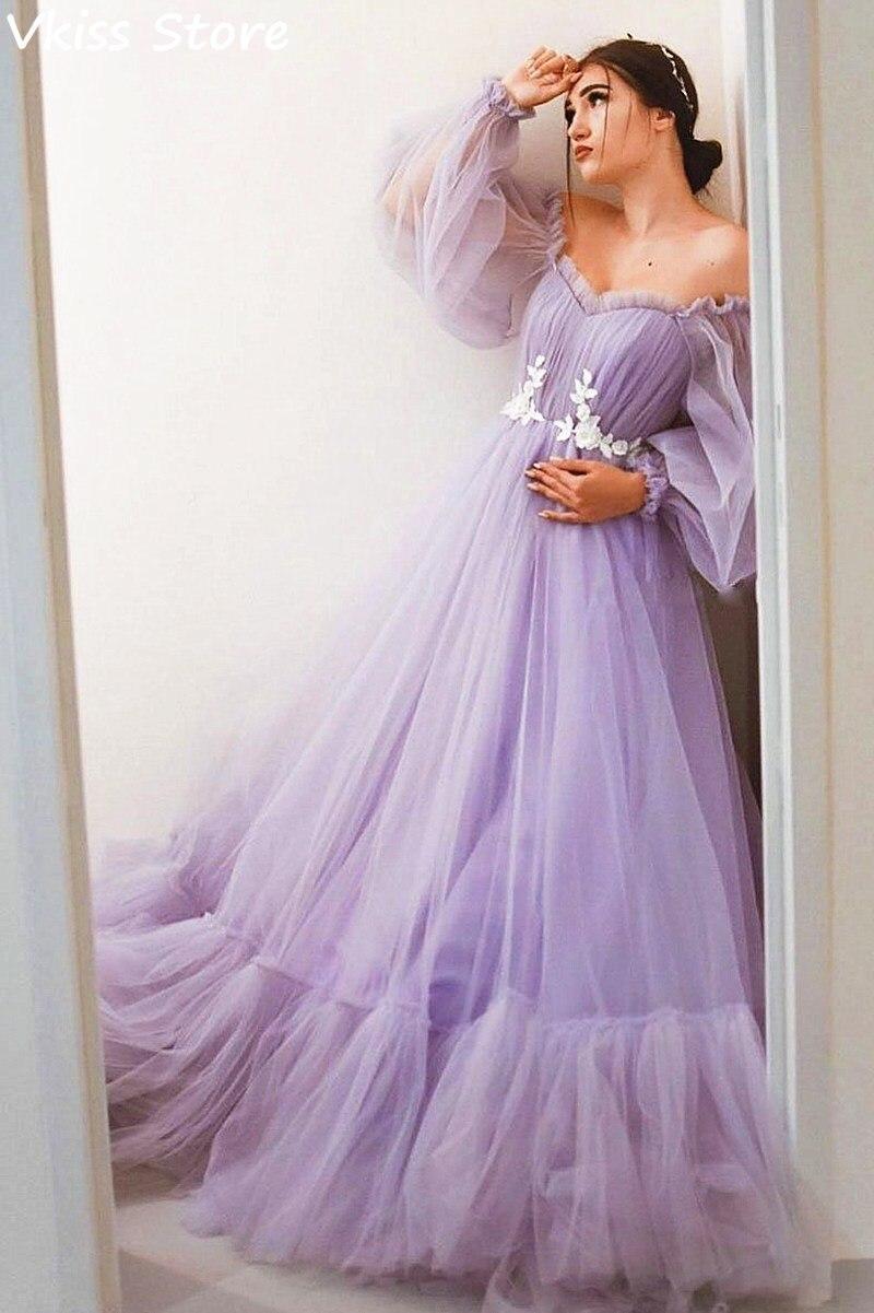 Purple A-line Evening Dress Off Shoulder Floor Length Long Sleeves Lace Sweetheart Neck Simple Prom Dress коктейльные платья