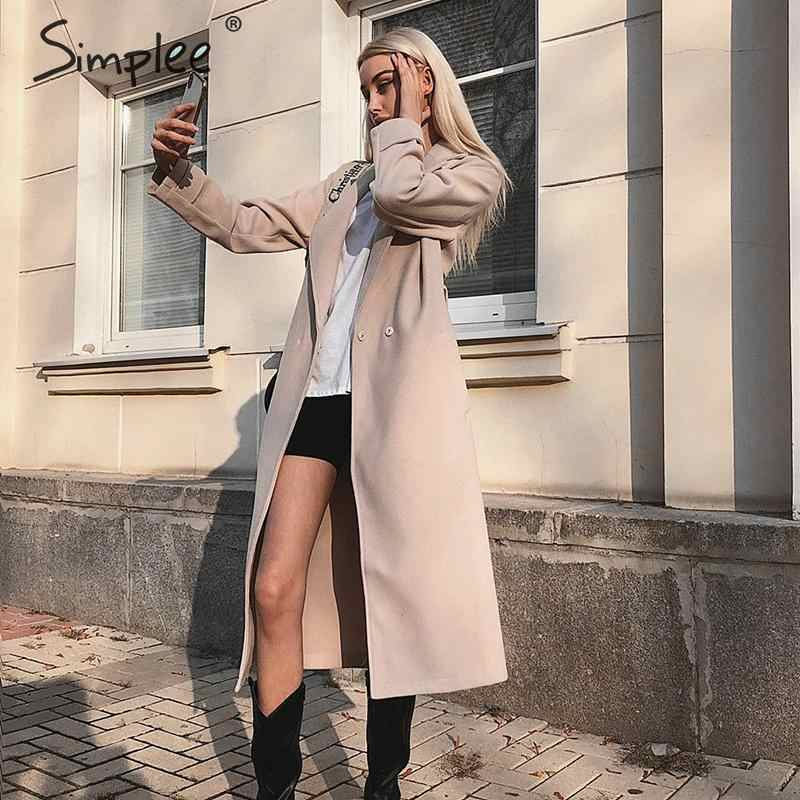 Simplee Wool blend winter tweed coat women Long sleeve elegant sash belt female outwear coat Autumn winter streetwear coat