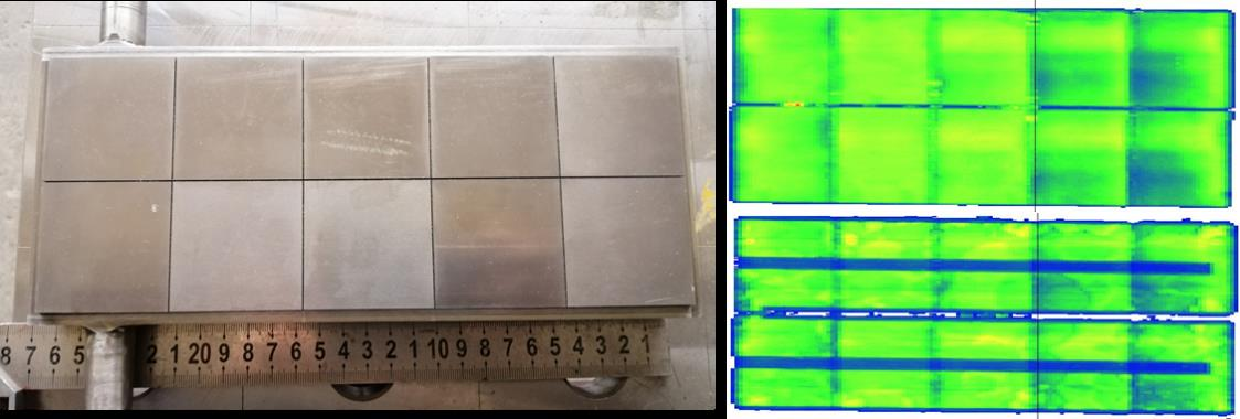 Photo of the mock-up and corresponding ultrasonic inspection result