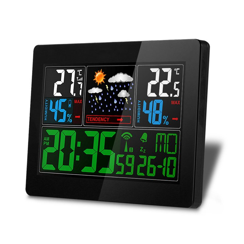 EU Plug Wireless Weather Station Indoor Outdoor Weather Forecast Station Hygrometer Thermometer Alarm Clock With Outdoor Sensor