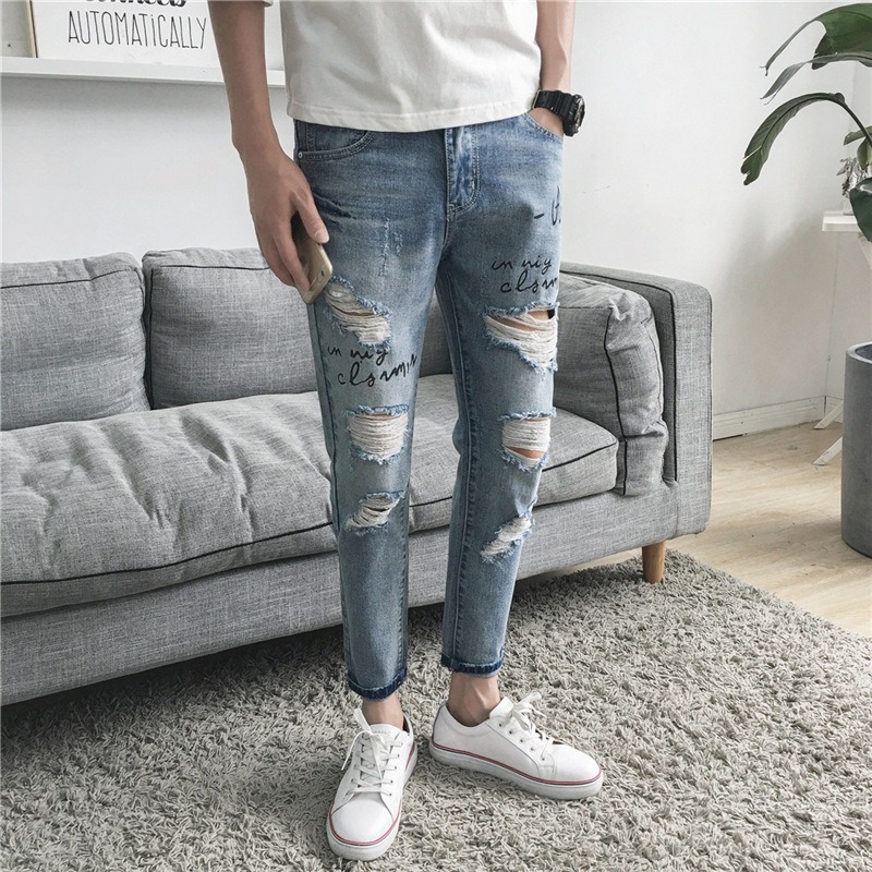 Thin Type For Spring And Autumn With Holes Capri Jeans Men Light Color Slim Fit Pants Casual Autumn Beggar Fashion Korean-style