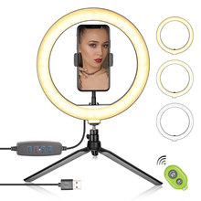 10 Inch LED Ring Light Photographic Selfie Ring Lighting with Stand for Smartphone Youtube Makeup Video Studio Tripod Ring Light(China)