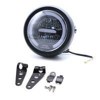 6.8 inch Retro Motorcycle Round Headlight white DRL Angel eye LED Headlamp with bracket