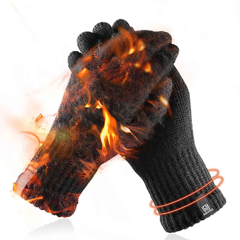 Winter Knitted Wool Touch Screen Gloves Men Warm Short Plush Lining Full Finger Sport Cycling Gloves Mittens Guantes