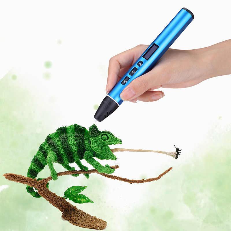 USB 3D עט 3D הדפסת עט 50m pla נימה 5m x10 צבעים את הטוב ביותר מתנת חג המולד