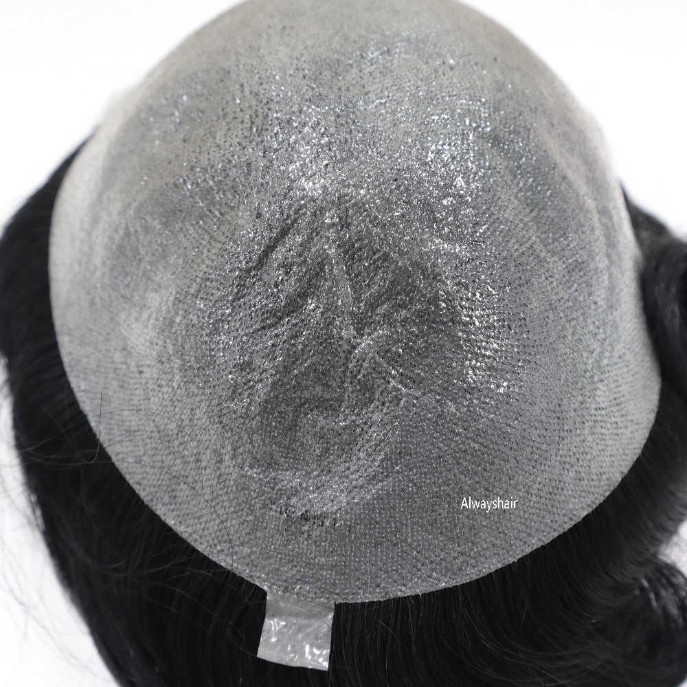 Venta de liquidación de existencias antiguas Peluca de Mirage 0,05-0,06mm reemplazo de pelo súper fino de la piel indio de pelo humano hombres tupé