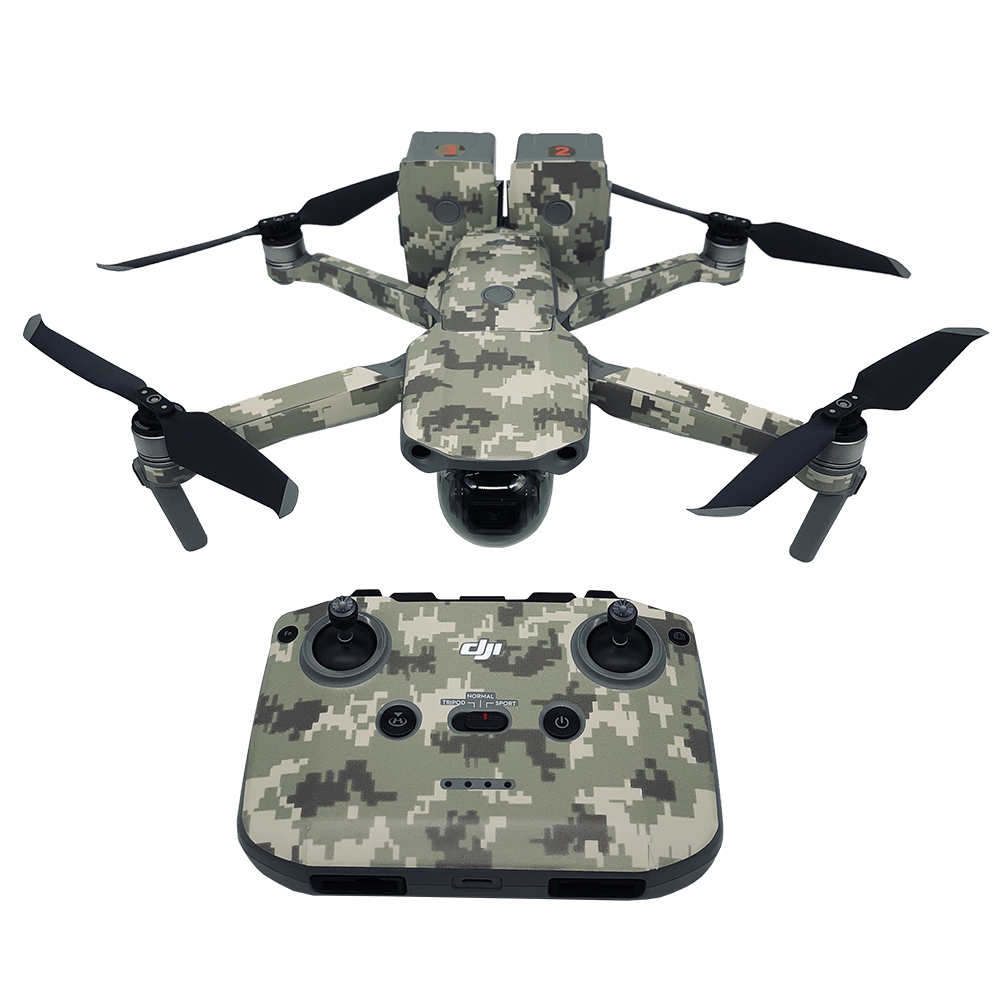 Camouflage Stickers Skin Sticker For DJI Mavic Air 2 RC Drone Accessories Body Protection Film + Remote Controllers + 2 Batteri