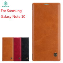 купить For Samsung Galaxy Note 10 Case Cover NILLKIN PU Leather Flip Case For Samsung Galaxy Note 10 Cover Flip Phone Case дешево