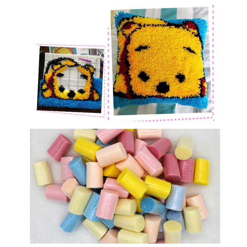 Kait Sarung Bantal Leopard Wajah Merajut Benang Sarung Bantal Cetak Kanvas Crochet 43X43Cm Tempat Tidur Sofa Bantal seni & Kerajinan