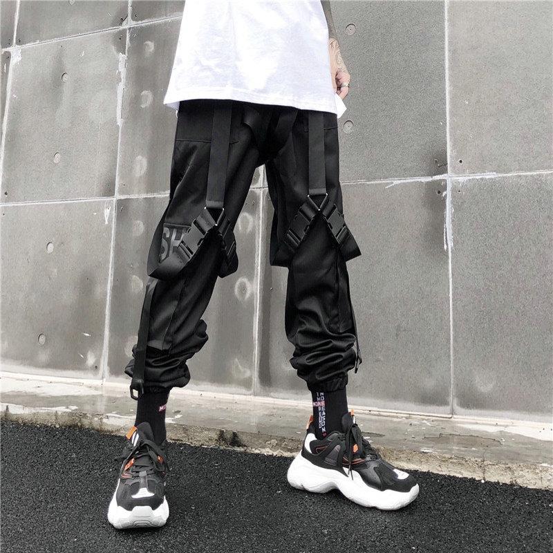 Pants Men New Arrivals Casual Joggers Harem Pants Letter Print Hip Hop Sweatpants Trousers Streetwear Cargo Pants Men Black