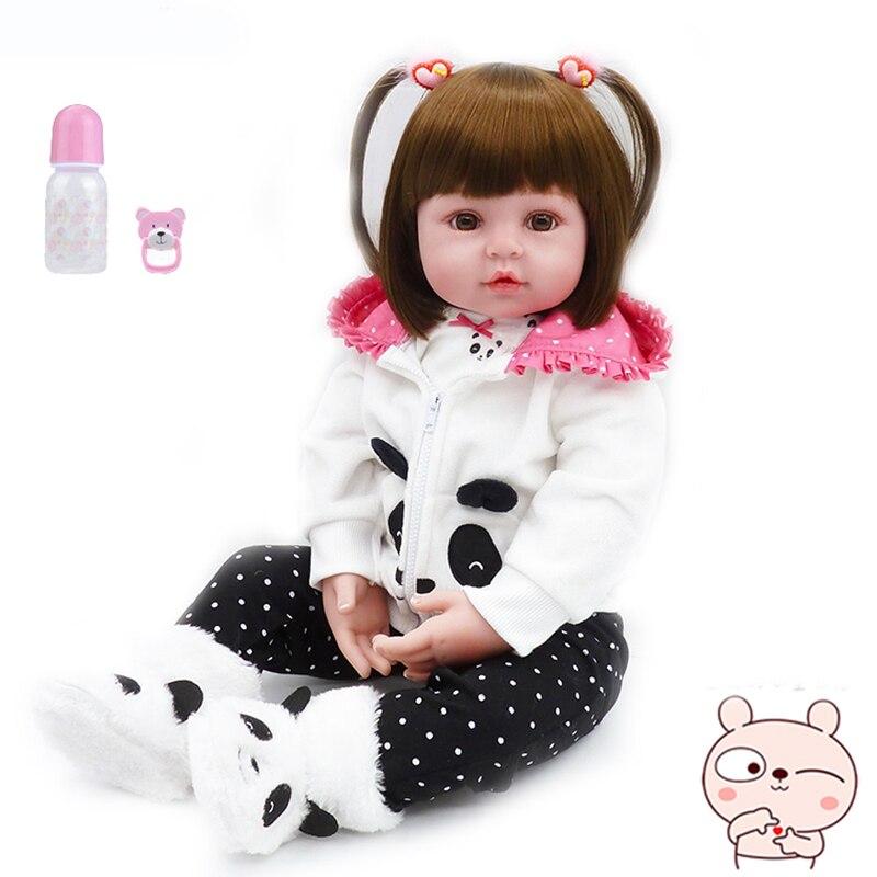 Bebe reborn boneca 19'19soft silicone macio bonito bebê boneca boneca menino feminino boneca brinquedos adorável realidade bebe surpresa boneca
