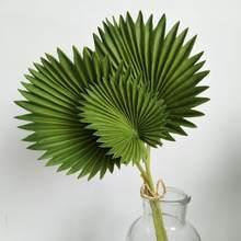 Hojas de palma artificiales realistas, ramo de hoja de Monstera de PU verde, césped de cobre falso raro, arreglo de flores para decoración del hogar, 45cm, 3 uds.