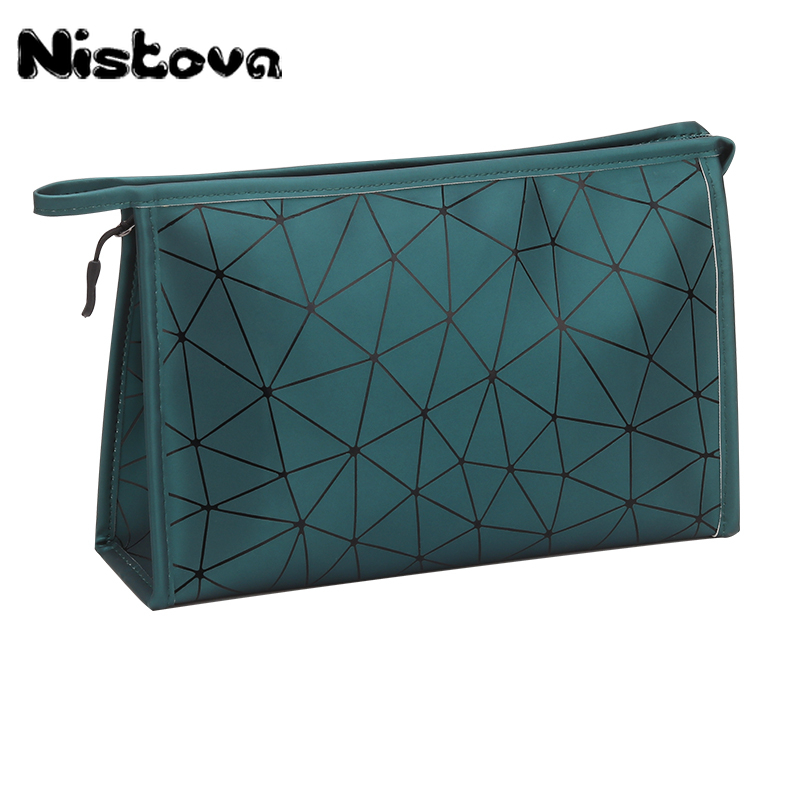 PU Diamond Lattice Cosmetic Bag Women Waterproof Travel Organizer Toiletry Kit Cases Ladies Makeup Storgage Pouch  Makeup Case