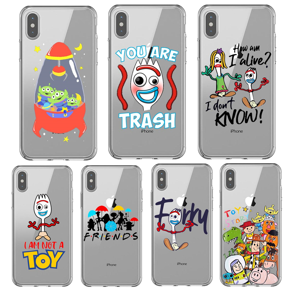 Pixar Movie Toy Story 4 Anime Forky <font><b>Bunny</b></font> Woody Alien Buzz Lightyear Phone <font><b>Case</b></font> For <font><b>iPhone</b></font> 11 Pro Max X XS MAX XR <font><b>5s</b></font> 6s 7 8 Plus image