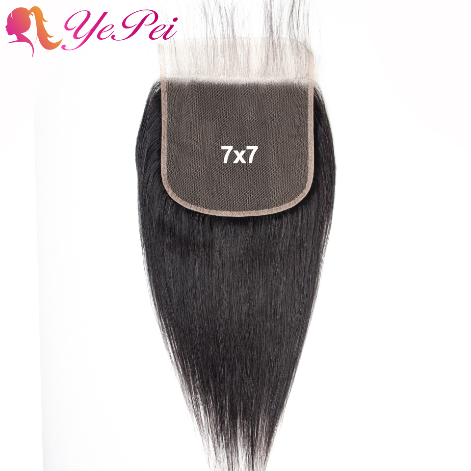 Brazilian Straight 7x7 Closure Human Hair Lace Closure With Baby Hair Swiss Lace 8- 24 Inch Natural Color Remy Yepei Hair