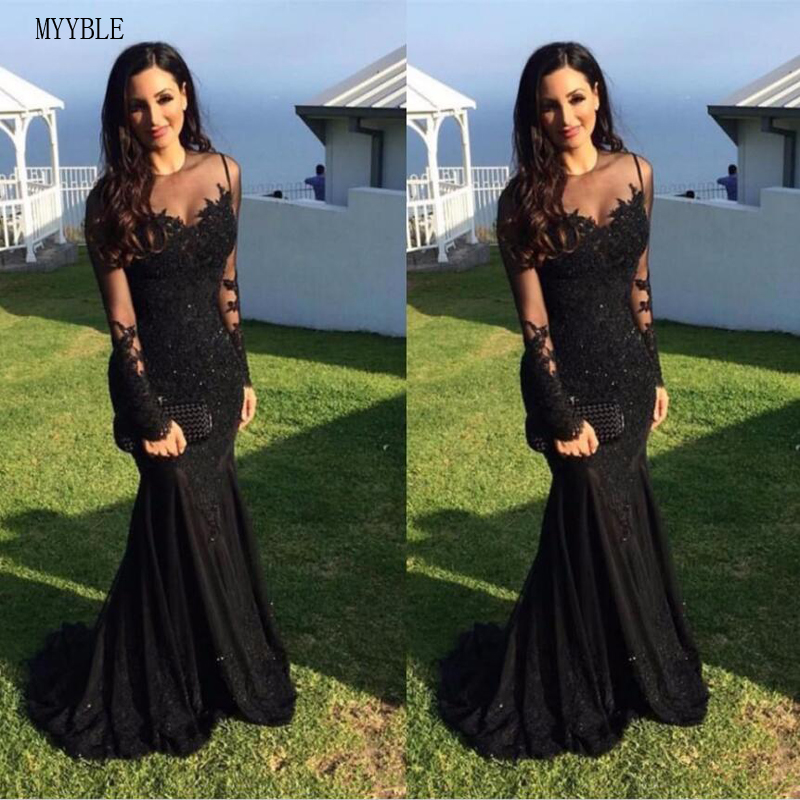 Black Muslim Evening Dresses 2020 Mermaid Long Sleeves Appliques Lace Beaded Islamic Dubai Saudi Arabic Long Formal Evening Gown