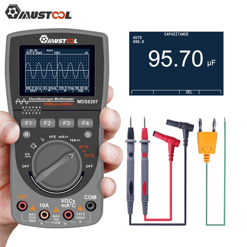 Image 2 - MUSTOOL Upgraded MDS8207 Intelligent 2 in 1Digital 40MHz 200Msps/S Oscilloscope 6000Counts True RMS Multimeter With Analog Grap-in Multimeters from Tools