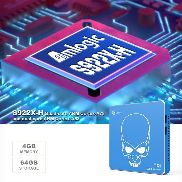Beelink GT KING PRO S922X-H Quad-core Andriod 9.0 smart top box 4G + 64G ROM 2.4G/5.8G WIFI USB 3.0 bludentifrice 4.1 HDMI tv box player
