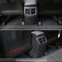 For Hyundai Tucson TL 2015 2016 2017 2018 Car Rear Seat Anti Kick Mat Auto Seat Protective Decoration PU Leather Pad Car Styling