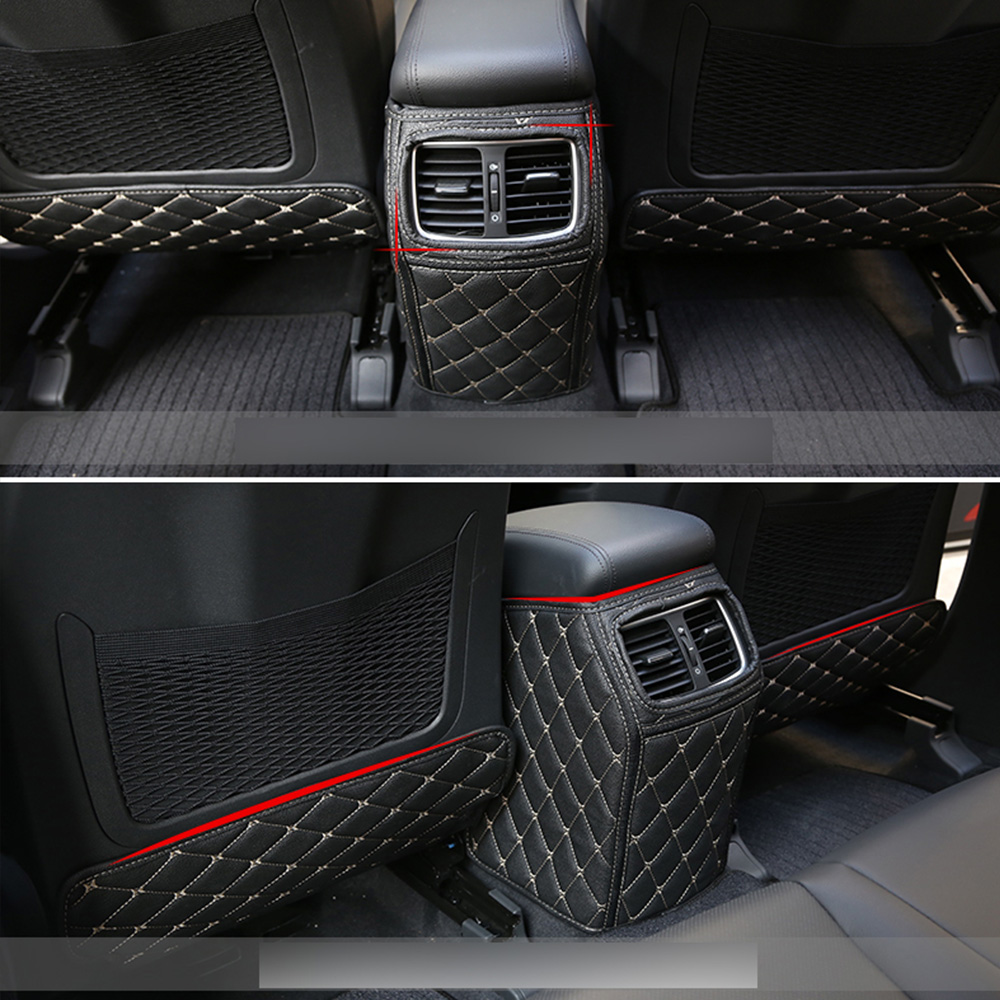 For Hyundai Tucson TL 2015 2016 2017 2018 Car Rear Seat Anti Kick Mat Auto Seat Protective Decoration PU Leather Pad Car Styling image