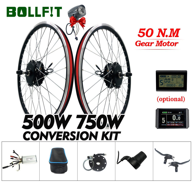 BOLLFIT 36V 48V 500W 750W Hinten Getriebe Hub Motor 26 28 Zoll Rad Elektrische Fahrrad Umwandlung kit Mit LCD3 LCD8H USB Display