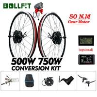 BOLLFIT 36V 48V 500W 750W Rear Gear Hub Motor 26 28 Inch Wheel Electric Bicycle Conversion Kit With LCD3 LCD8H USB Display