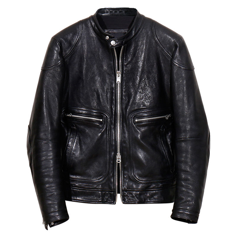 YR!Free Shipping.Oil Wax Tanning Genuine Leather.fashion Brand Luxury Vintage Biker Style Italy Sheepskin Jacket,men Slim Cool