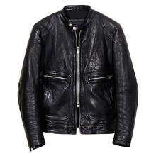 YR!Free shipping.Oil wax tanning Genuine leather.fashion Brand Luxury vintage biker style Italy sheepskin jacket,men slim cool