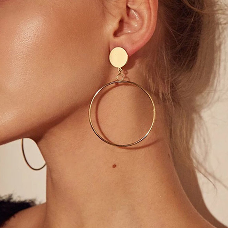 LATS New Fashion Round Dangle Korean Drop Earrings for Women Geometric Round Heart Gold Earring 2019 Trend Wedding Jewelry 3