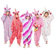 Unicorn Onesie Girls Kigurumi  Pajama Cartoon Animal Pyjamas Cute Kawaii Sleepwear Children Kids Zipper Suit Winter Warm Overall