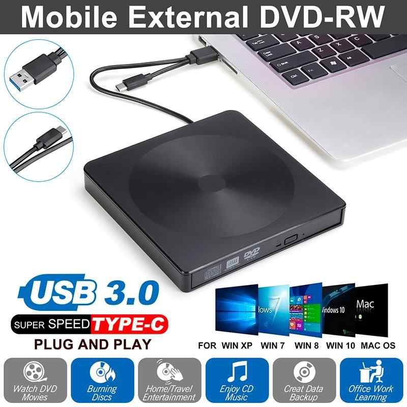 Eksternal DVD Drive Optik Tipe-C USB 3.0 CD ROM Pemain CD-RW Burner Writer Pembaca Perekam Portatil untuk LAPTOP Windows PC