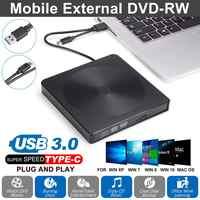 Movimentação ótica externa de dvd tipo-c usb 3.0 leitor de cd rom gravador de leitor de gravador de CD-RW queimadores portatil para computador portátil windows pc