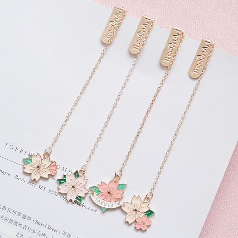 1 Pcs Lovely Romantic Cherry Blossoms Sakura Pendant Metal Bookmarks Page Clip Stationery School Office Supply Escolar Papelaria