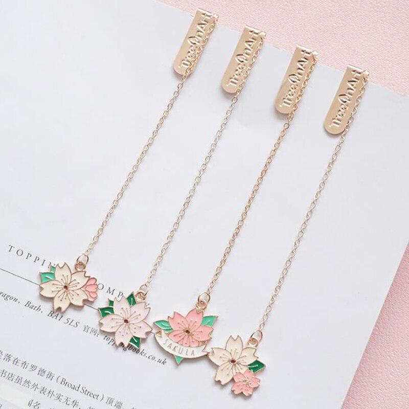 1 Pcs Lovely Romantic Cherry Blossoms Sakura Pendant Metal Bookmarks Page Clip Stationery School Office Supply Escolar Papelaria