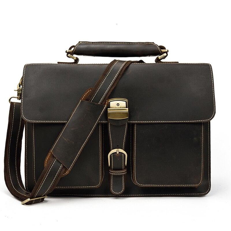 Vintage Men's Genuine Leather Briefcase 16