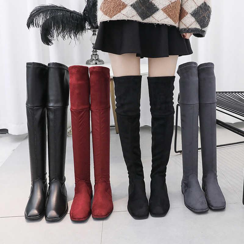 Slip Auf Sexy Stiefel Über Das Knie Stiefel Frauen Weichen Rot Schwarz Stiefel 2019 Neue Winter Herbst Stiefel Frauen Mode plattform Stiefel Damen