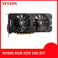 Carte graphique Yeston Radeon RX 580 GPU 8GB GDDR5 256bit ordinateur de bureau de jeu PC support vidéo DVI-D/HDMI PCI-E X16 3.0