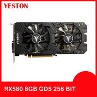 Yeston Radeon видеокарта RX 580 GPU 8 ГБ GDDR5 256bit игровой настольный компьютер ПК видео Поддержка DVI-D/HDMI PCI-E X16 3,0